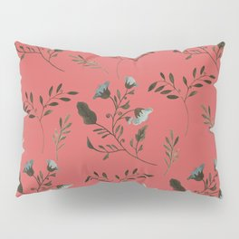 Coral Rose and Bluebells and Bluebirds Floral Pattern Flowers in Blue and Bark Brown Pillow Sham