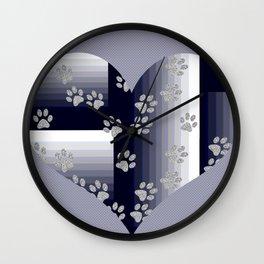 Purple Heart Pet Tracks Wall Clock