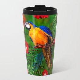 RED HIBISCUS GOLD MACAW JUNGLE ART Travel Mug