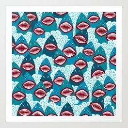 Angry Shark Art Print