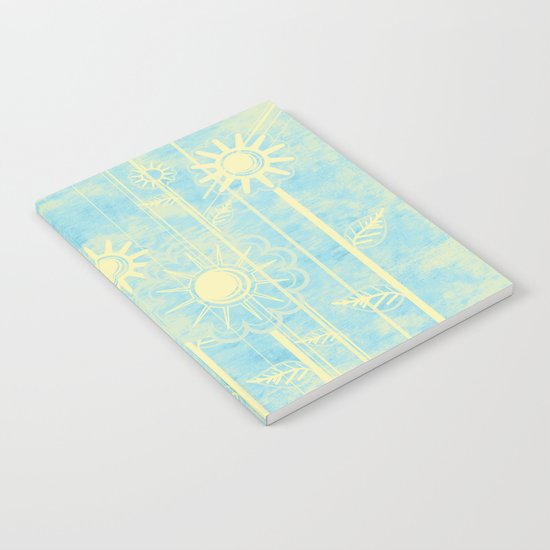 retro flowers in blue and yellow Notebook