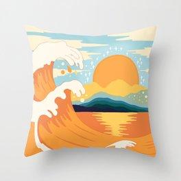Orange wave Throw Pillow