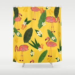 Banana Leaves and Frangipani Tropical Flowers With Flamingos Pattern Shower Curtain