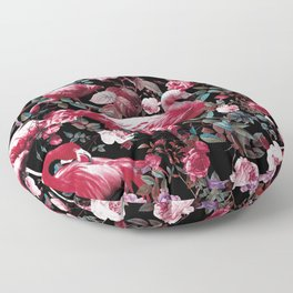 Floral and Flamingo VIII pattern Floor Pillow