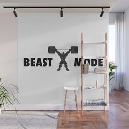 Heavy weight lifter muscle bodybuilder silhouette Wall Mural