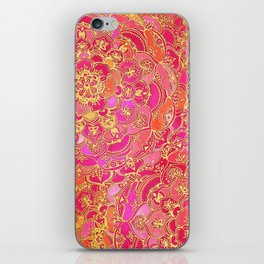 Hot Pink and Gold Baroque Floral Pattern iPhone Skin