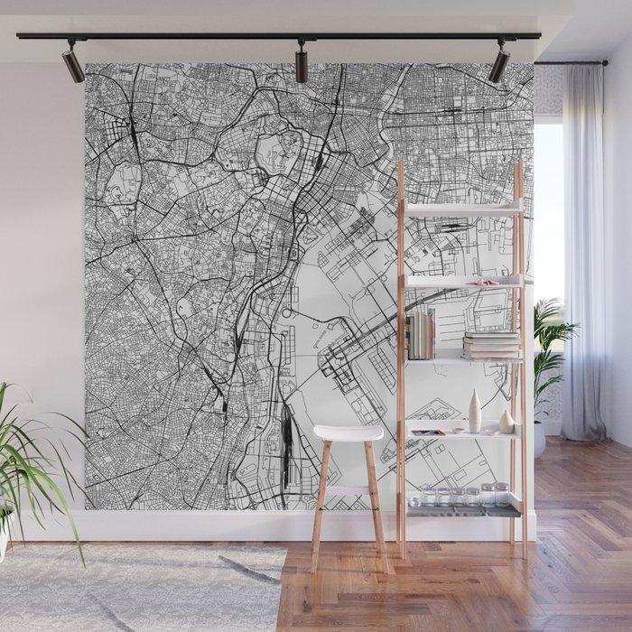 Tokyo White Map Wall Mural