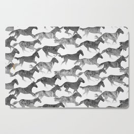 Running Watercolor Horses Ink Black Cutting Board