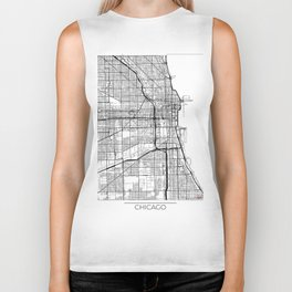 Chicago Map White Biker Tank