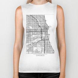 Chicago Map White Biker Tank