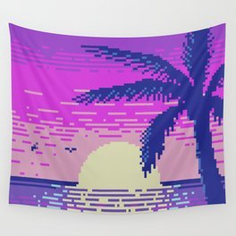 Pixel Sunset Wall Tapestry