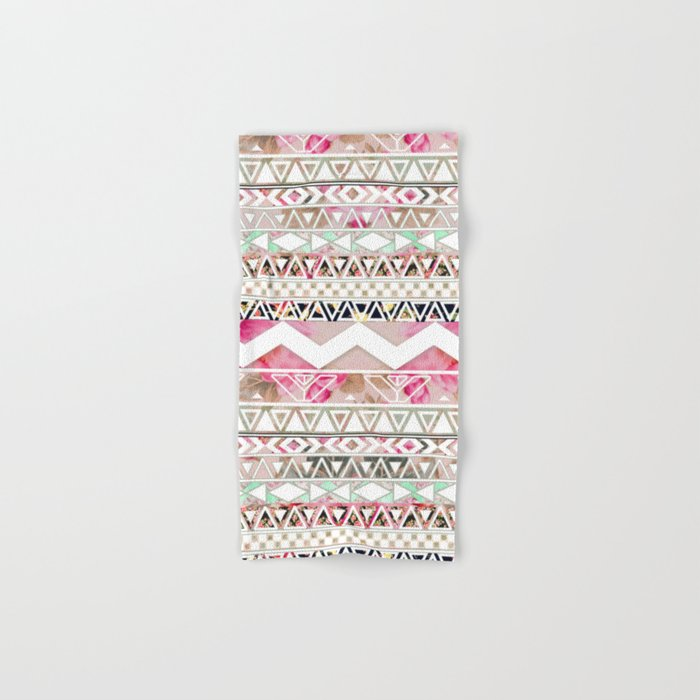 Aztec Spring Time! | Girly Pink White Floral Abstract Aztec Pattern Hand & Bath Towel
