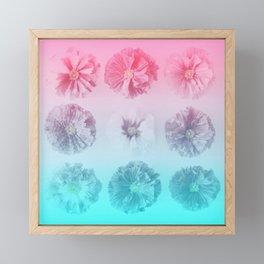 Blue Gradient Flower Grid Framed Mini Art Print