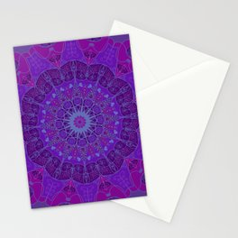 Mandala art drawing design purple fuchsia periwinkle Stationery Cards