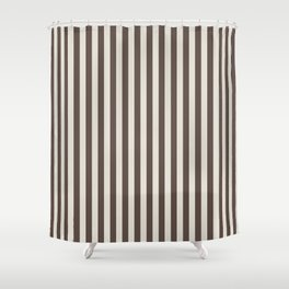 Chateau Brown and Heron Plume Stripe Shower Curtain