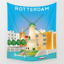 Rotterdam, Holland - Skyline Illustration by Loose Petals Wall Tapestry