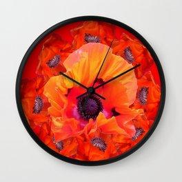 MODERN  RED-ORANGE POPPY FLOWERS  PATTERNS Wall Clock