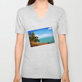 Pine Tree on a Headland with Topical Ocean Unisex V-Neck