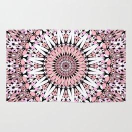 Pink Floral Gravel Mandala Rug