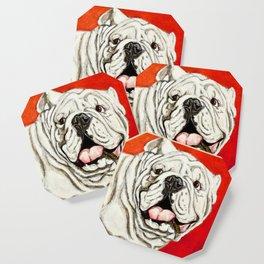 Uga the Bulldog Painting - Red Background Coaster