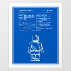 Lego Man Patent - Blueprint (v1) Art Print