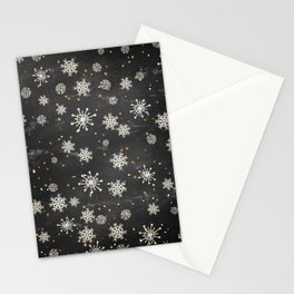 Boho Black Snowflakes Stationery Cards