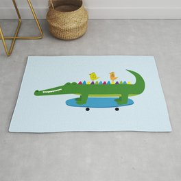 Crocodile and skateboard Rug