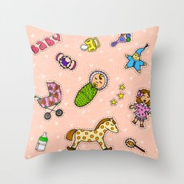 For Mommy pattern Throw Pillow