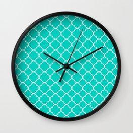 Aqua Blue Quatrefoil Clover Pattern Wall Clock