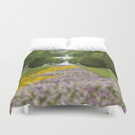 Purple and yellow pansies blooming Duvet Cover