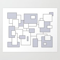 Squares - gray and white. Art Print