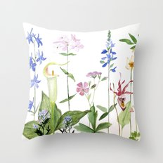 Botanical Garden Flower Wildflower Watercolor Art Throw Pillow