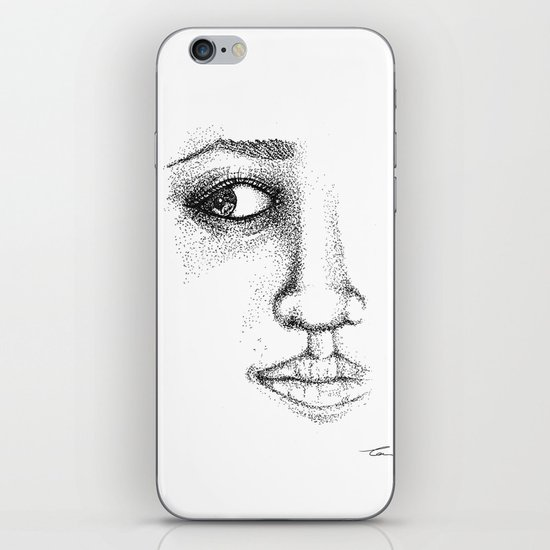 Fine Liner Stippling Girl 1 iPhone & iPod Skin