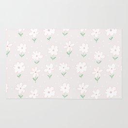 Hand painted blush pink white floral polka dots illustration Rug