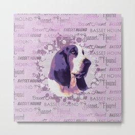 Basset Hound Pastel Purple Metal Print