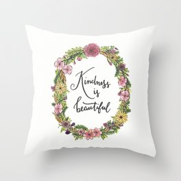 Kindness is beautiful. Watercolor floral wreath illustration. Brush lettering calligraphy. Throw Pillow