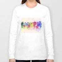 brussels Long Sleeve T-shirts featuring Brussels skyline in watercolor background by Paulrommer