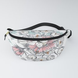 Beautiful fashion illustration with pastel flowers. Vector design Fanny Pack