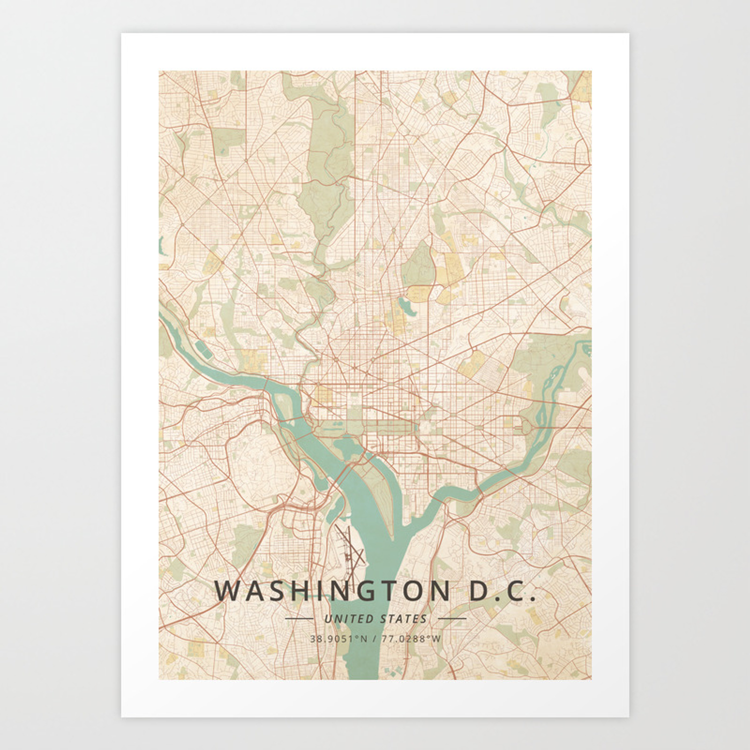 Washington D.C., United States - Vintage Map Art Print on dc city map, dc train map, dc neighborhood map, wa dc map, dc on a map, dc airports map, dc walking map, dc location on map, dc tourist map, dc tour map, dc museums map, dc transit map, dc state map, dc county map, dc capital map, dc crime map, dc attractions map, virginia map, dc road map, dc street maps,