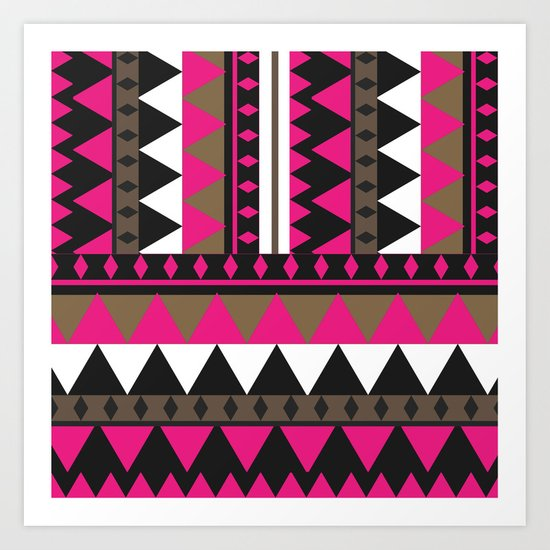 Bright Pink Brown Geometric Andes Aztec Abstract Pattern Art Print