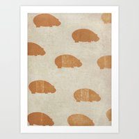 hippo Art Prints featuring hippo by sinonelineman