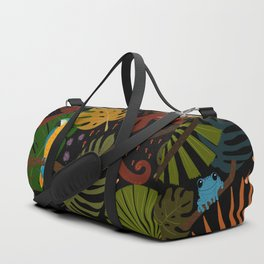 Jungle Pattern with Monkeys, Macaws and colorful Dart Frogs Duffle Bag