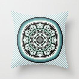 Mandala Design Sea Blue Aqua Theme Throw Pillow