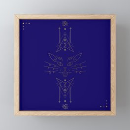 Navy Blue Gold Cat Line Art Framed Mini Art Print