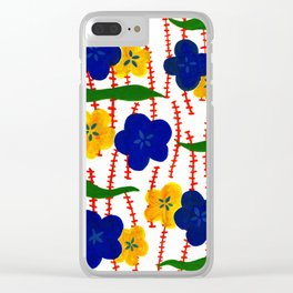 Blue and Yellow Floral Patterns Clear iPhone Case