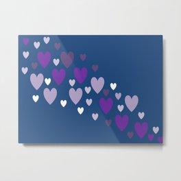 Asymmetrical hearts (blue, lavender & purple) Metal Print