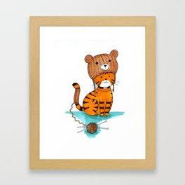 Knitted Bear Hat. Framed Art Print