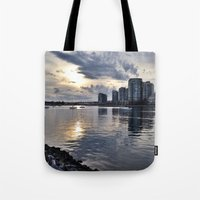 vancouver Tote Bags featuring Vancouver  by amberino
