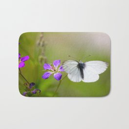 White Butterfly Natural Background Bath Mat