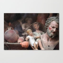 Vintage Baby Jesus Among Dolls Canvas Print